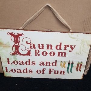 Laundry room sign, metal
